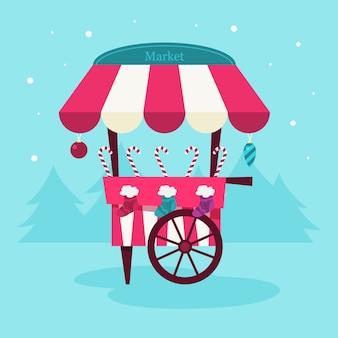 クリスマスのお菓子市場のイラスト。お祝い料理と休日の装飾。