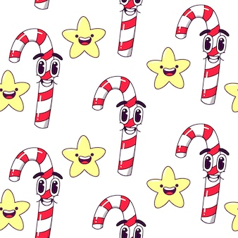 Christmas candy seamless pattern. Premium Vector