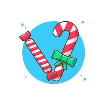 Рождественские конфеты векторные иллюстрации клипарт.