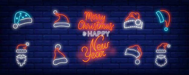 Набор символов рождественской шапки в неоновом стиле