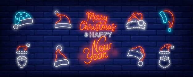 Christmas cap symbols set in neon style