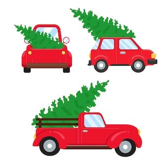 クリスマスカー。クリスマスツリーを運ぶ赤いピックアップトラック。