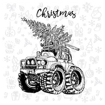 Christmas car vintage sketch with a christmas tree