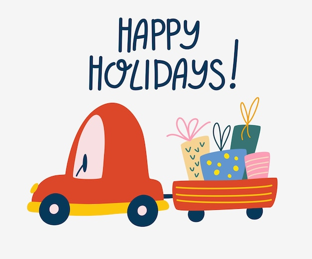 Christmas car with gift cart. happy holidays greeting card. new year and winter holiday symbol. christmas delivery concept. vector cute cartoon illustration.