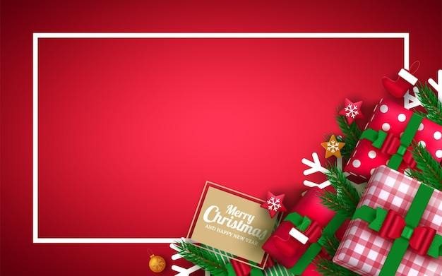 クリスマスカードの背景、カラフルな要素と赤い背景の飾り。 。