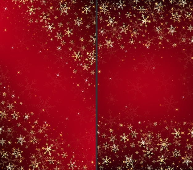 Christmas card background dressed by gold snowflakes and glitters