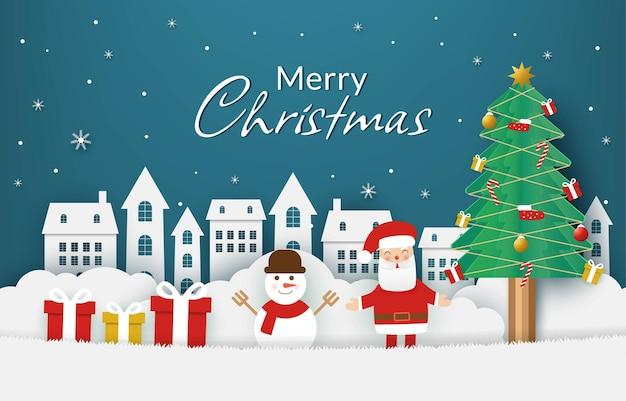 Рождественская открытка фон в стиле вырезки из бумаги