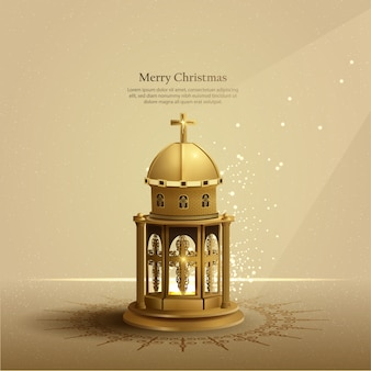 Christmas card background with golden church lantern