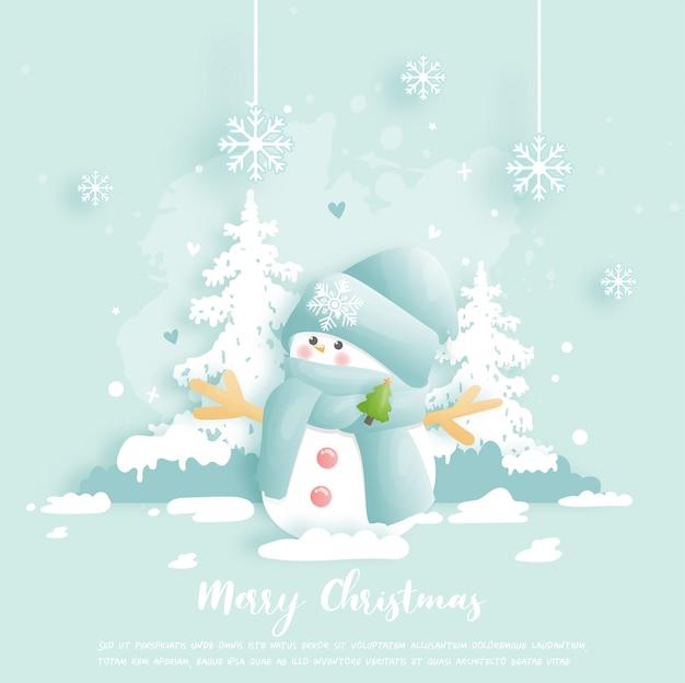Рождественская открытка, баннер с милым снеговиком.