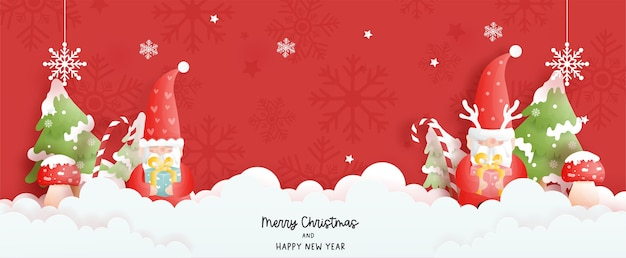 Christmas card banner with gnomes