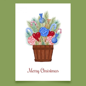 Christmas card box of sweets with conifer