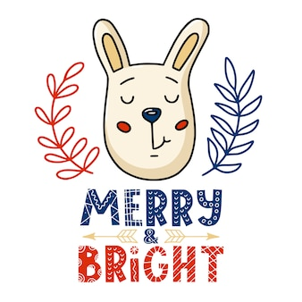 Christmas card - bunny and merry bright text