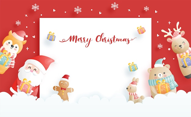 크리스마스 카드, 산타와 친구와 축하, 종이에 크리스마스 장면 컷 스타일 일러스트.