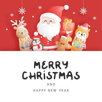 Christmas card, celebrations with santa and friends, christmas scene in paper cut style vector illustration.