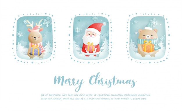 Christmas card, celebrations with santa and friends, christmas scene in paper cut style