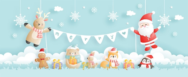Christmas card, celebrations with santa and reindeer, christmas scene for banner