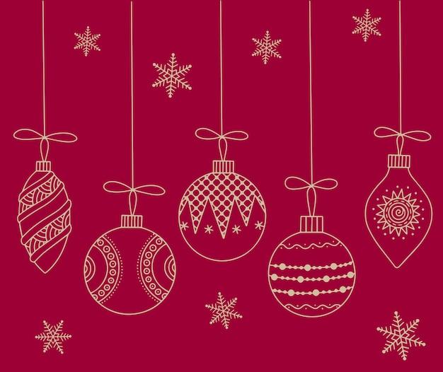 Рождественская открытка рождественские игрушки на красном фоне наброски иллюстрации