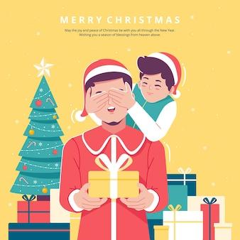 크리스마스 카드 개념 그림 배경