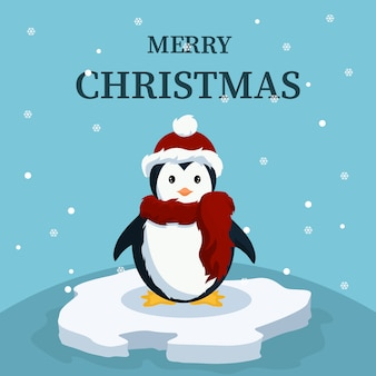 Christmas card of cute baby penguin