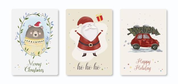 Christmas card cute illustration template