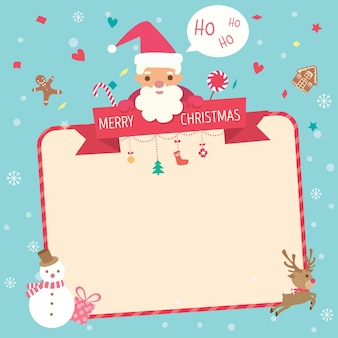 Christmas card decorated with santa claus