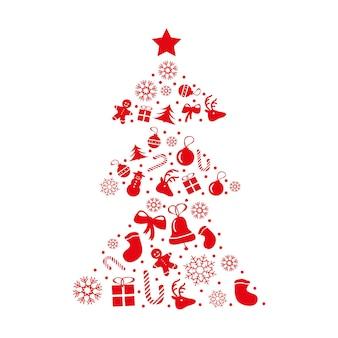 붉은 색에 크리스마스 카드 디자인입니다. 벡터. 새해 인사와 크리스마스 요소 및 기호는 추상적인 나무 모양으로 형성됩니다.