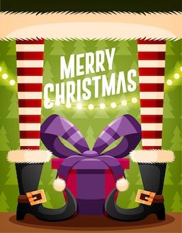 산타 클로스와 선물 크리스마스 카드 디자인 템플릿입니다. 벡터 일러스트 레이 션 프리미엄 벡터