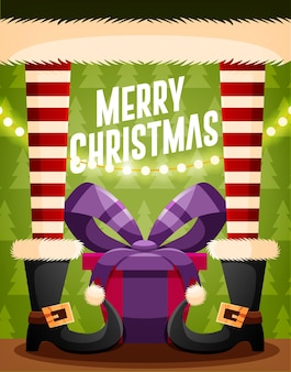 Christmas card design template with santa claus and gifts. vector illustration