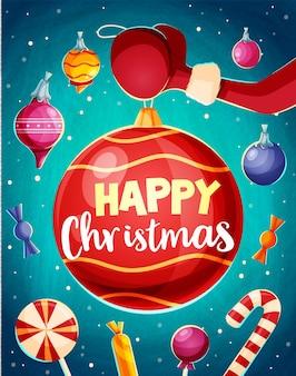 산타 클로스와 함께 크리스마스 카드 디자인 템플릿입니다. 삽화