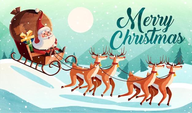 산타 클로스와 크리스마스 카드 디자인 템플릿입니다. 벡터 일러스트 레이 션