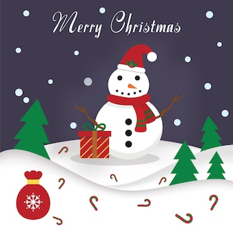 Christmas card design template with snowman and gifts vector illustration