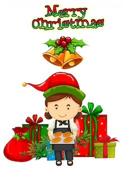 Christmas card design with baker and presents