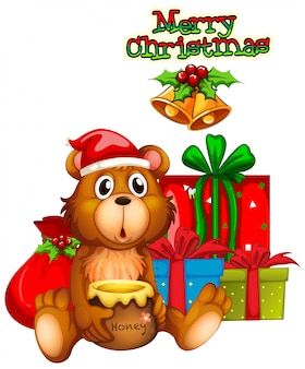 Christmas card design with bear and presents