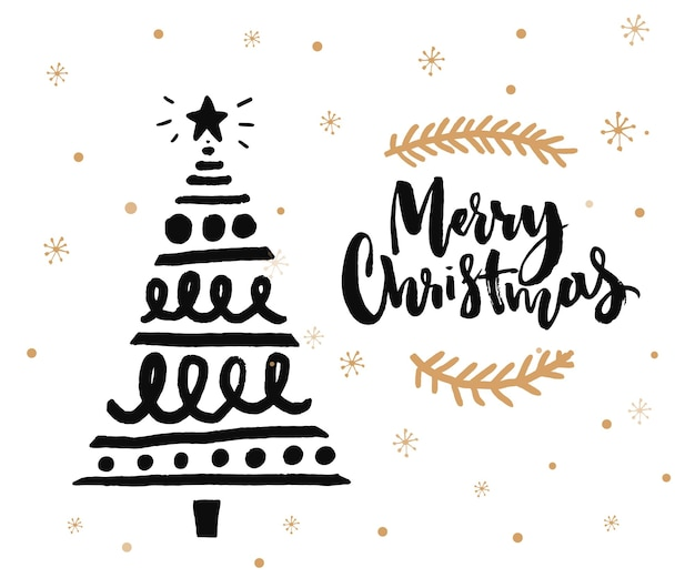 Christmas card design with brush calligraphy and hand sketched decorated christmas tree. black ink on white background and golden snowflakes.