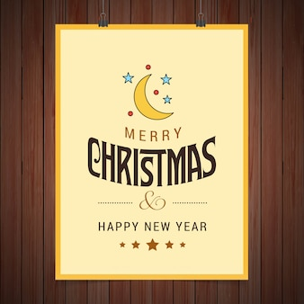 Christmas card design with elegant design and brown background vector
