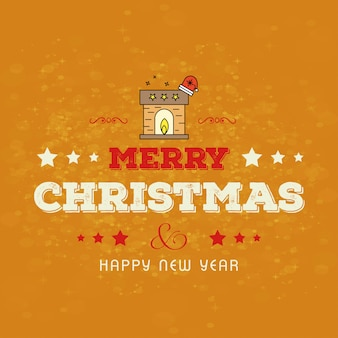 Christmas card design with elegant design and yellow background vector