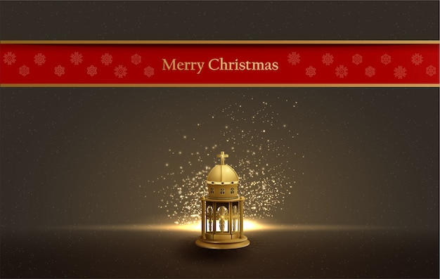 Christmas card design with gold church lantern