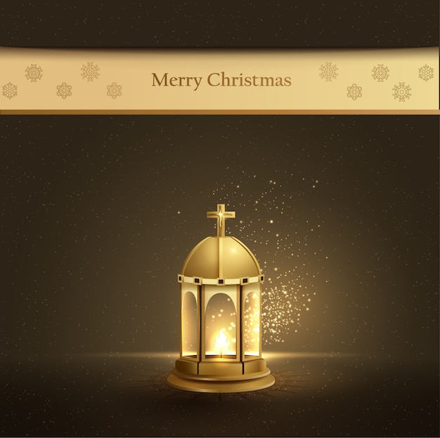 Christmas card design with gold lantern