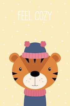 A christmas card feel cozy cute cartoon tiger in a hat and scarf