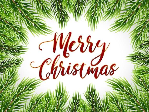 Christmas card and fir tree border, vector illustration.