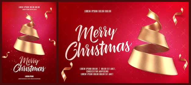 Christmas card or flyer and poster template with golden christmas tree made of ribbon vector