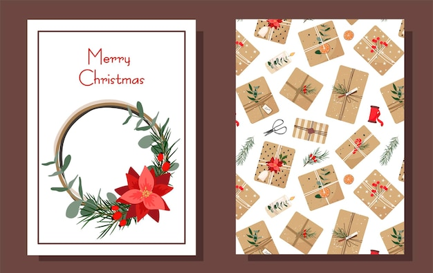 Christmas card. gifts in kraft paper. cartoon style.