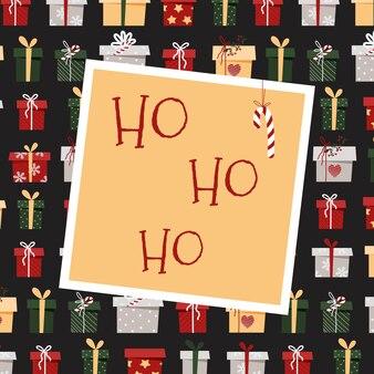 Christmas card ho ho ho. greeting card with gifts