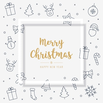 Рождественская открытка значок элементы золотой текст приветствие рамка белый фон