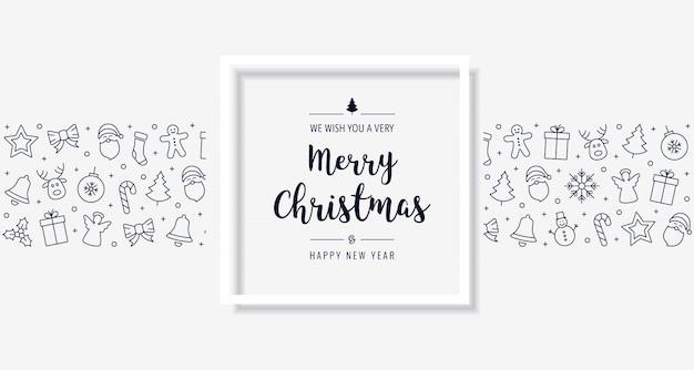 Рождественская открытка значок элементы текст приветствие кадр фон