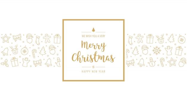 Рождественская открытка значок элементы текст приветствие кадр золотой белый фон