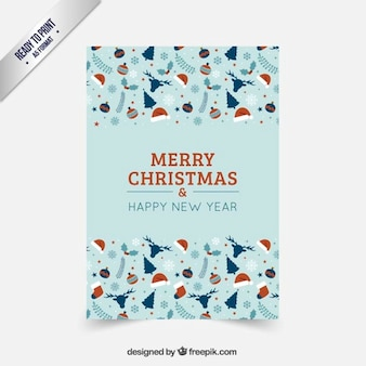 Christmas card in red and turquoise tones
