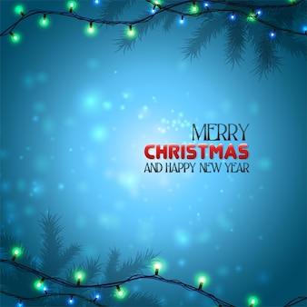 雪の結晶で夜にクリスマスカードが点灯します