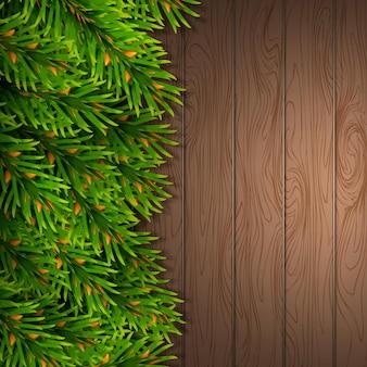 Рождественская открытка макет ель границы вектор
