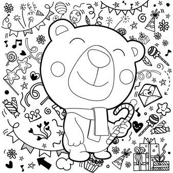 Рождественская открытка белого медведя с шарфом